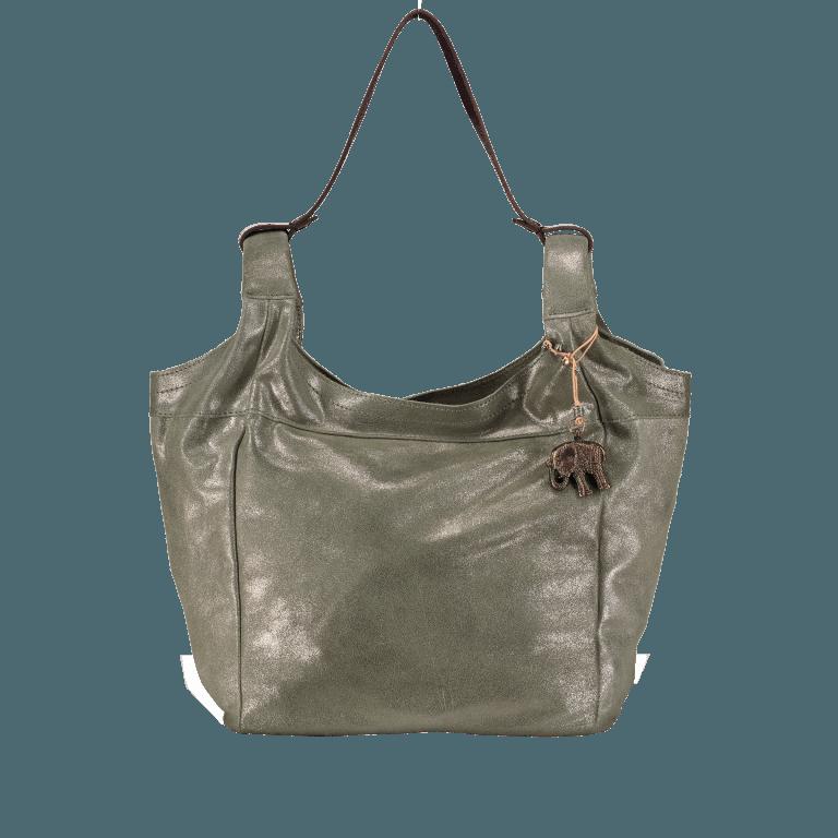 Anokhi Beutel Metallic Cheyenne 317-7280 , Farbe: grün/oliv, metallic, Marke: Anokhi, Abmessungen in cm: 28.5x30.0x16.0, Bild 1 von 1