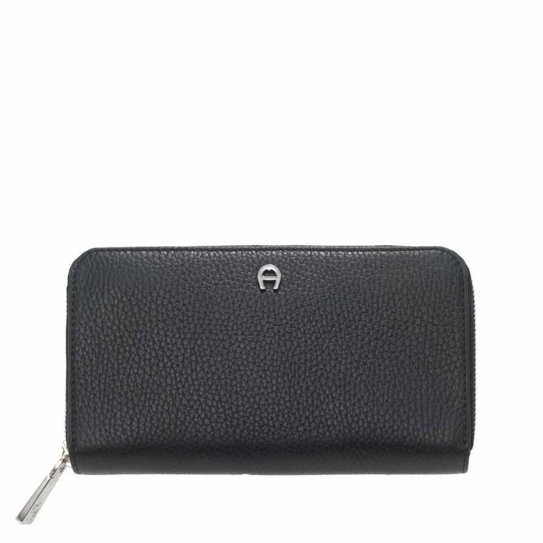 AIGNER Basics Damenbörse 156584 Black, Farbe: schwarz, Marke: Aigner, Abmessungen in cm: 19.0x10.5x2.5, Bild 1 von 2
