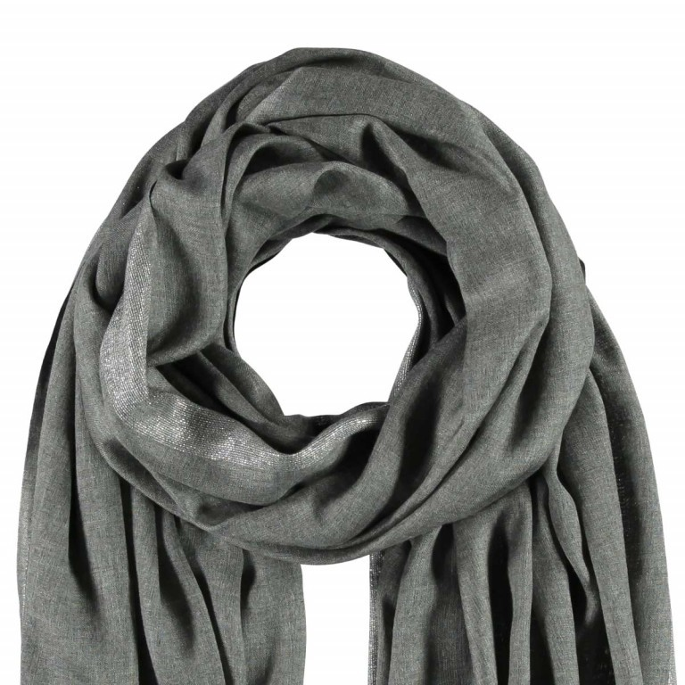 Passigatti Schal Silber Bordüre Grau, Farbe: grau, Marke: Passigatti, EAN: 4046124009815, Abmessungen in cm: 100.0x180.0, Bild 2 von 2