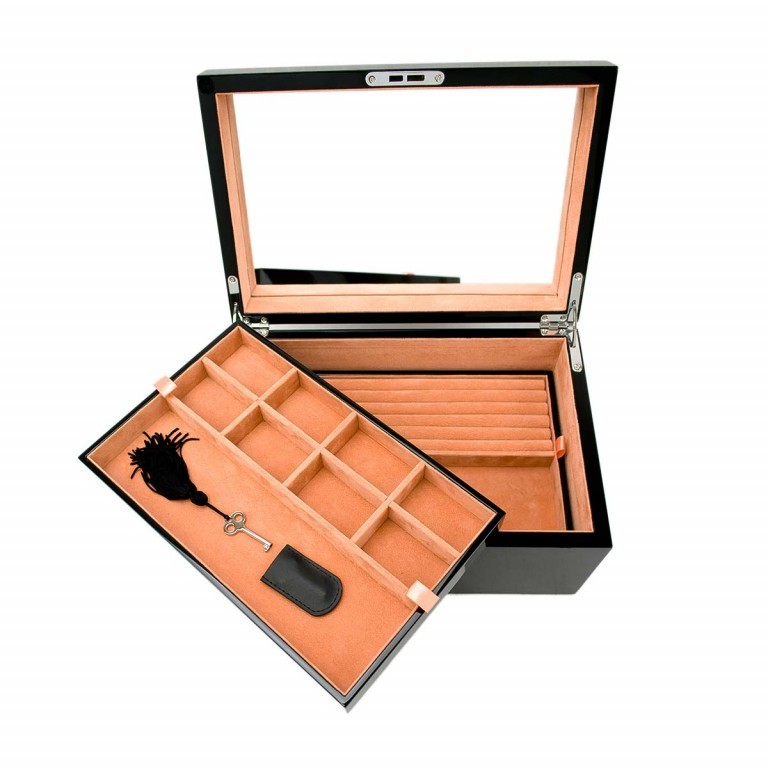 Windrose High-Gloss Schmuckkoffer M Schwarz, Farbe: schwarz, Marke: Windrose, Abmessungen in cm: 30.0x16.0x20.5, Bild 2 von 2