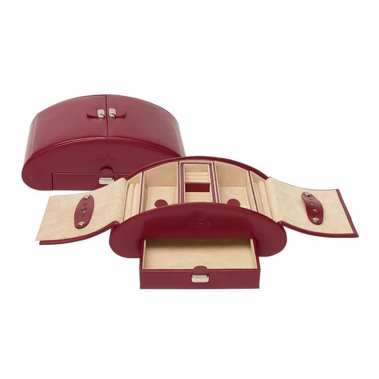 Windrose Merino Schmuckkassette Rot, Farbe: rot/weinrot, Marke: Windrose, Abmessungen in cm: 26.5x10.5x15.5, Bild 2 von 4