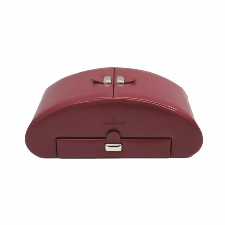 Windrose Merino Schmuckkassette Rot, Farbe: rot/weinrot, Marke: Windrose, Abmessungen in cm: 26.5x10.5x15.5, Bild 3 von 4