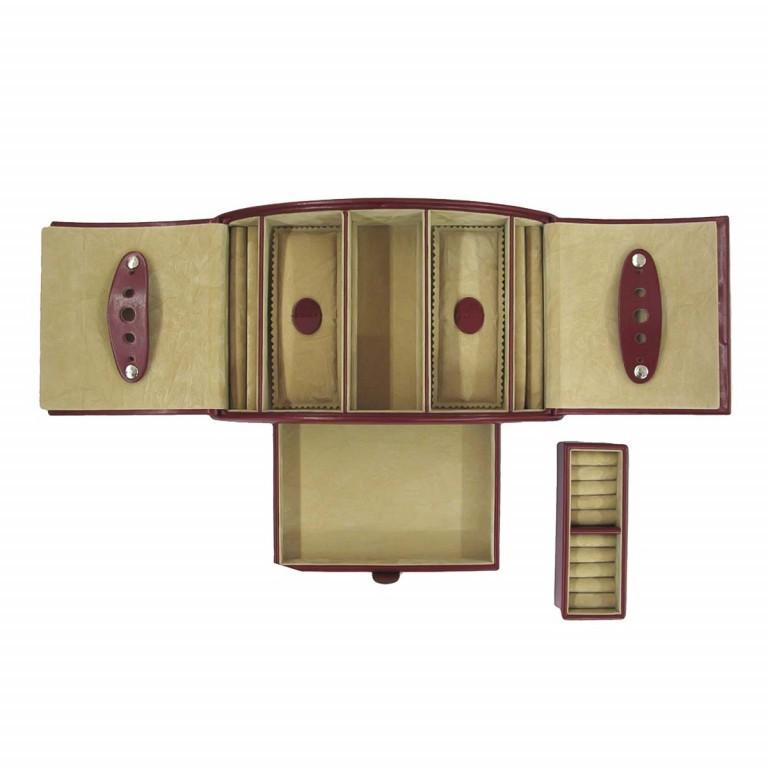 Windrose Merino Schmuckkassette Rot, Farbe: rot/weinrot, Marke: Windrose, Abmessungen in cm: 26.5x10.5x15.5, Bild 4 von 4