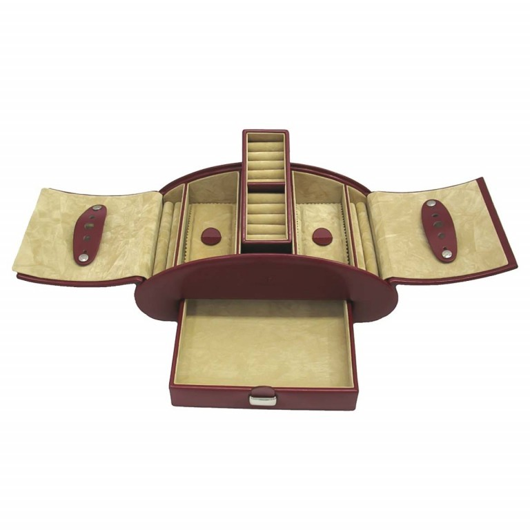 Windrose Merino Schmuckkassette Rot, Farbe: rot/weinrot, Marke: Windrose, Abmessungen in cm: 26.5x10.5x15.5, Bild 1 von 4
