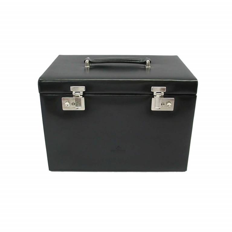 Windrose Merino Schmuck-/ Uhrenkoffer mit Schmucktasche Schwarz, Farbe: schwarz, Marke: Windrose, Abmessungen in cm: 33.0x23.0x23.0, Bild 2 von 3