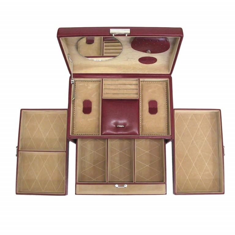 Windrose Merino Schmuckkoffer Vier Etagen Rot, Farbe: rot/weinrot, Marke: Windrose, Abmessungen in cm: 24.5x16.5x16.0, Bild 4 von 4