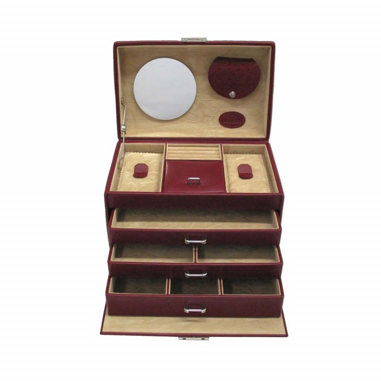 Windrose Merino Schmuckkoffer Vier Etagen Rot, Farbe: rot/weinrot, Marke: Windrose, Abmessungen in cm: 24.5x16.5x16.0, Bild 1 von 4