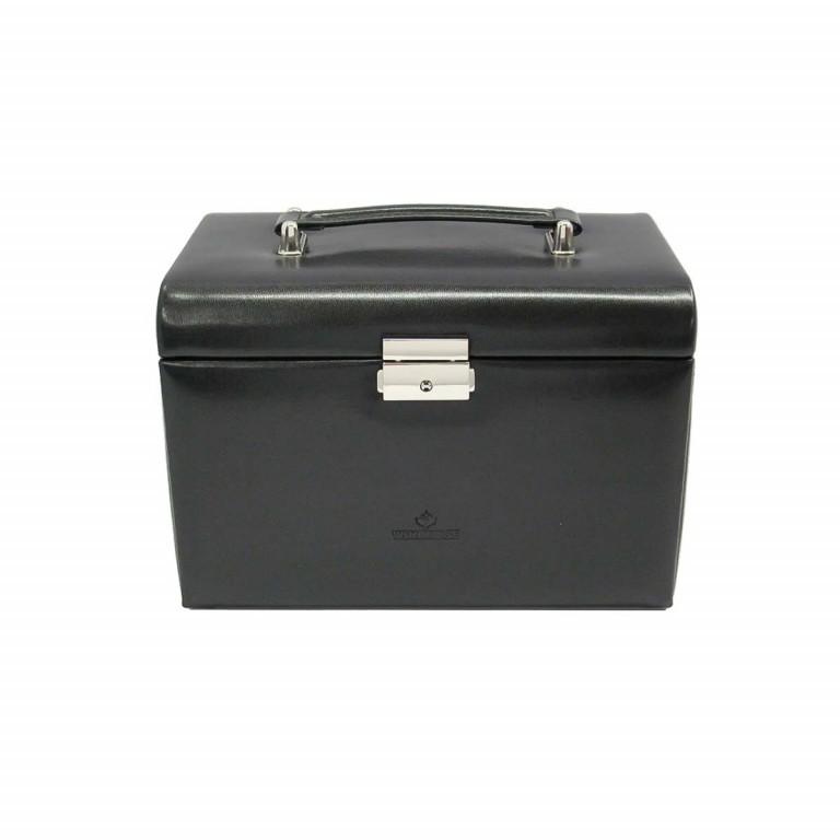 Windrose Merino Schmuckkoffer Vier Etagen Schwarz, Farbe: schwarz, Marke: Windrose, Abmessungen in cm: 24.5x16.5x16.0, Bild 2 von 3