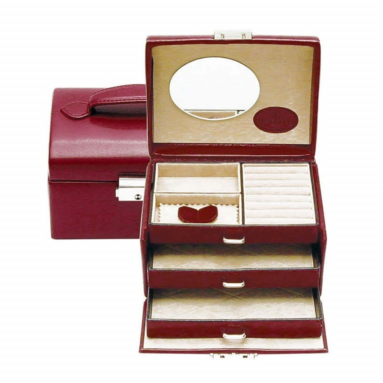 Windrose Merino Schmuckkoffer Klein Drei Etagen Rot, Farbe: rot/weinrot, Marke: Windrose, Abmessungen in cm: 15.0x12.0x11.5, Bild 2 von 4