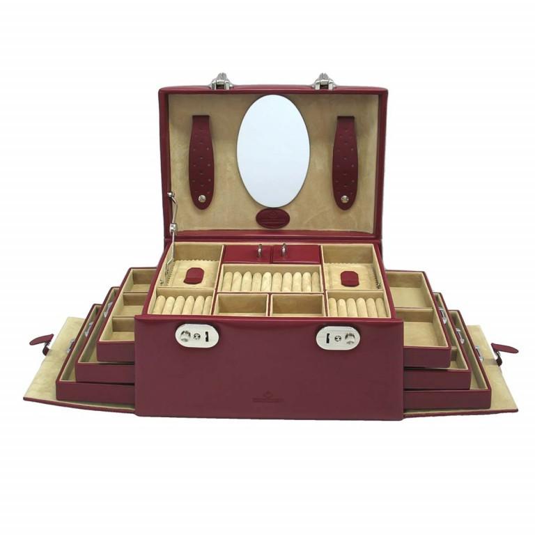 Windrose Merino Schmuckkoffer Seitenladen Rot, Farbe: rot/weinrot, Marke: Windrose, Abmessungen in cm: 29.5x17.0x19.0, Bild 1 von 4