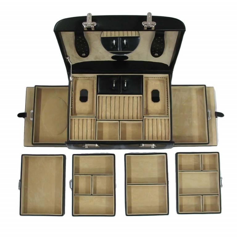 Windrose Merino Schmuckkoffer Seitenladen Schwarz, Farbe: schwarz, Marke: Windrose, Abmessungen in cm: 29.5x17.0x19.0, Bild 3 von 3