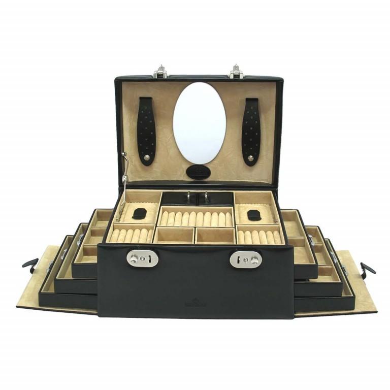 Windrose Merino Schmuckkoffer Seitenladen Schwarz, Farbe: schwarz, Marke: Windrose, Abmessungen in cm: 29.5x17.0x19.0, Bild 1 von 3