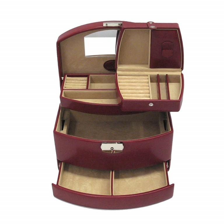 Windrose Merino Automatik-Schmuckkoffer mit Etui Rot, Farbe: rot/weinrot, Marke: Windrose, Abmessungen in cm: 23.0x15.0x16.5, Bild 1 von 4