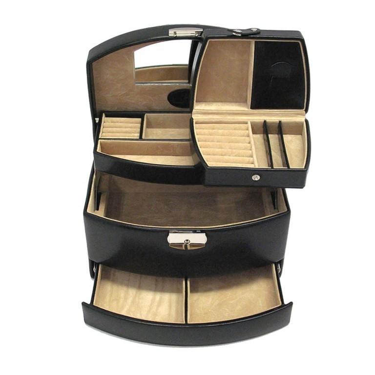 Windrose Merino Automatik-Schmuckkoffer mit Etui Schwarz, Farbe: schwarz, Marke: Windrose, Abmessungen in cm: 23.0x15.0x16.5, Bild 1 von 3
