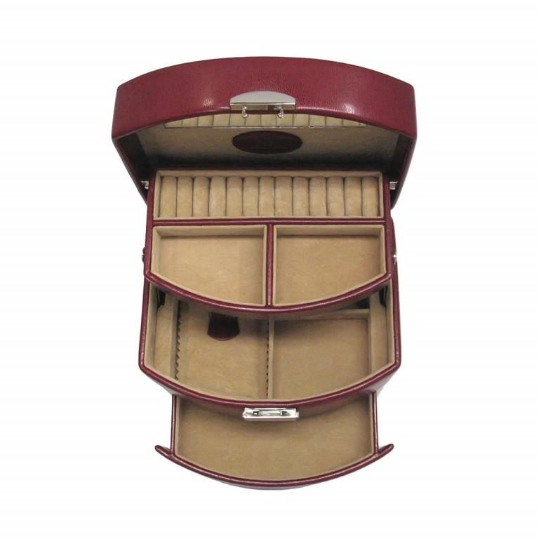 Windrose Merino Automatik-Schmuckkoffer S Rot, Farbe: rot/weinrot, Marke: Windrose, Abmessungen in cm: 17.0x13.5x14.0, Bild 4 von 4