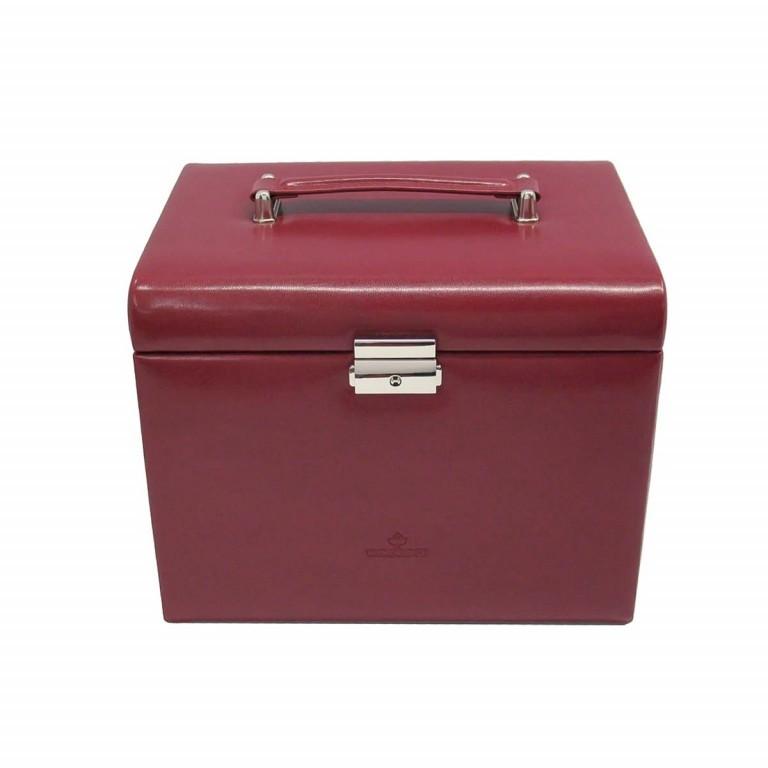 Windrose Merino Schmuckkoffer mit integrierter Schmucktasche Rot, Farbe: rot/weinrot, Marke: Windrose, Abmessungen in cm: 26.0x22.0x20.5, Bild 1 von 3
