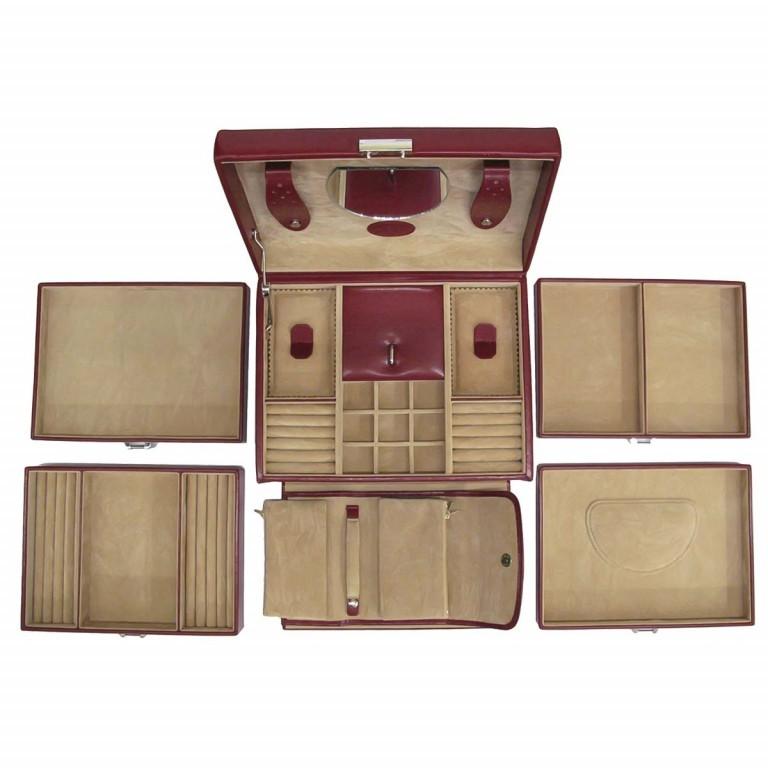 Windrose Merino Schmuckkoffer mit integrierter Schmucktasche Rot, Farbe: rot/weinrot, Marke: Windrose, Abmessungen in cm: 26.0x22.0x20.5, Bild 3 von 3