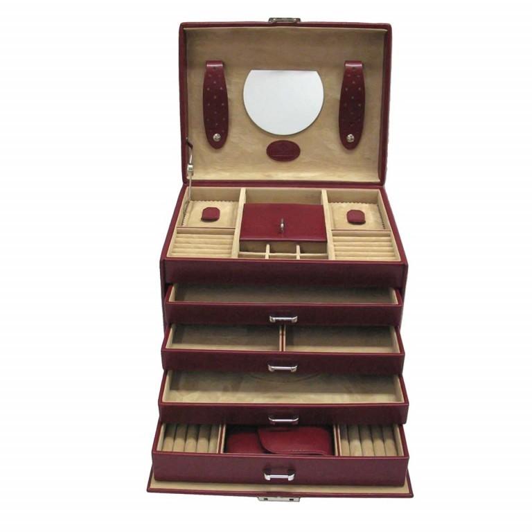 Windrose Merino Schmuckkoffer mit integrierter Schmucktasche Rot, Farbe: rot/weinrot, Marke: Windrose, Abmessungen in cm: 26.0x22.0x20.5, Bild 2 von 3