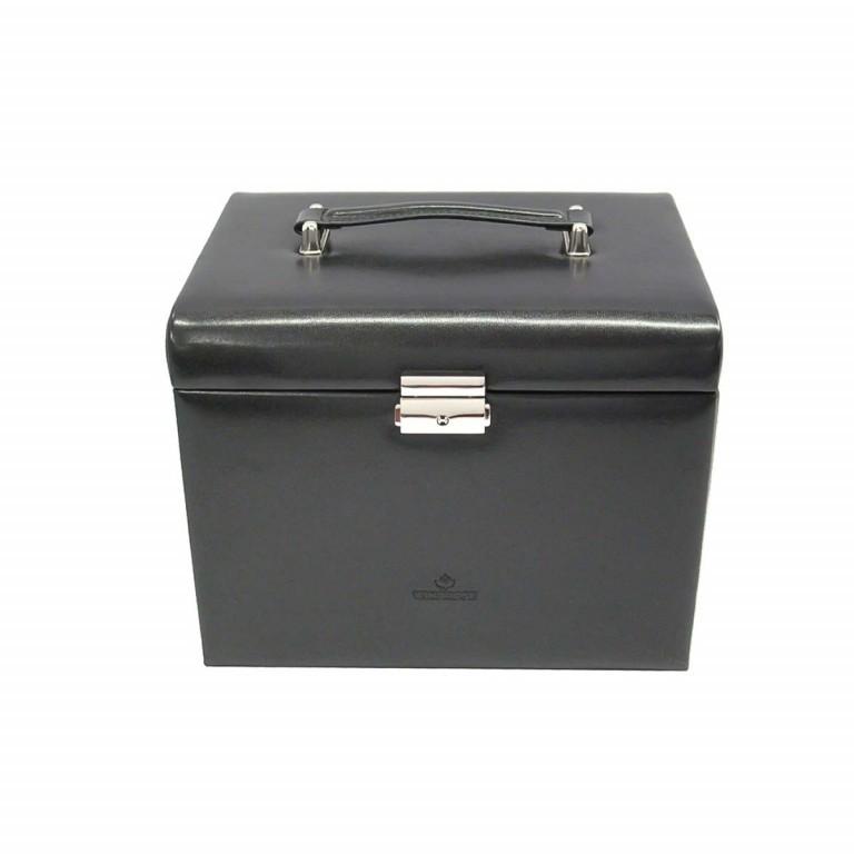 Windrose Merino Schmuckkoffer mit integrierter Schmucktasche Schwarz, Farbe: schwarz, Manufacturer: Windrose, Dimensions (cm): 26.0x22.0x20.5, Image 1 of 3