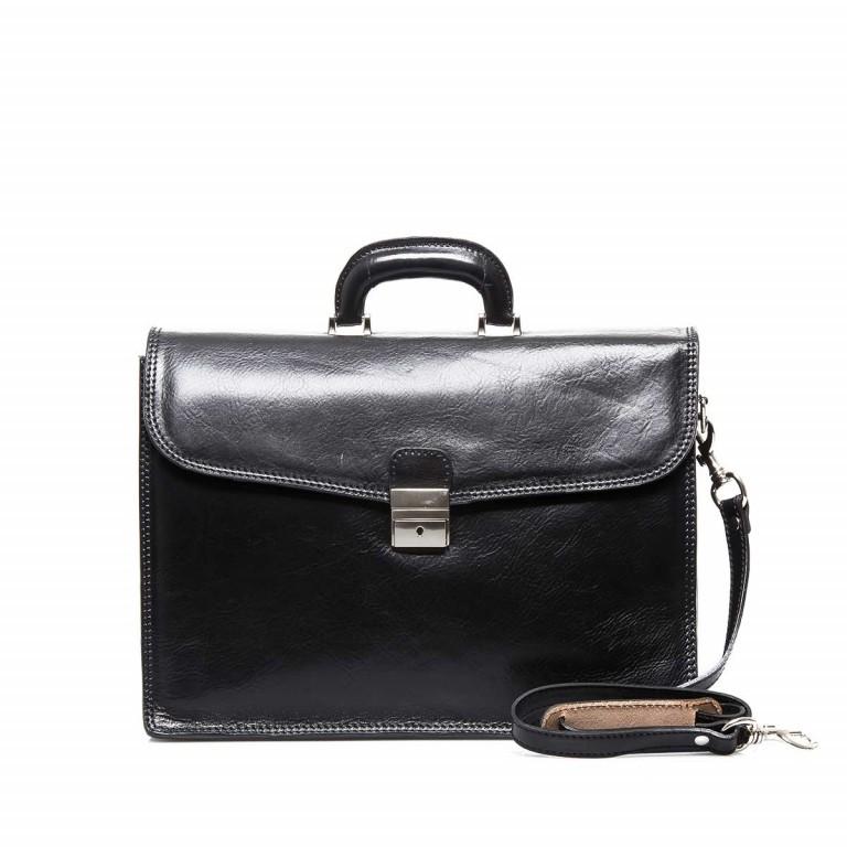 Assima 3-Fächer Aktentasche Vacchettaleder Schwarz, Farbe: schwarz, Marke: Assima, Abmessungen in cm: 42.0x29.0x16.0, Bild 1 von 5