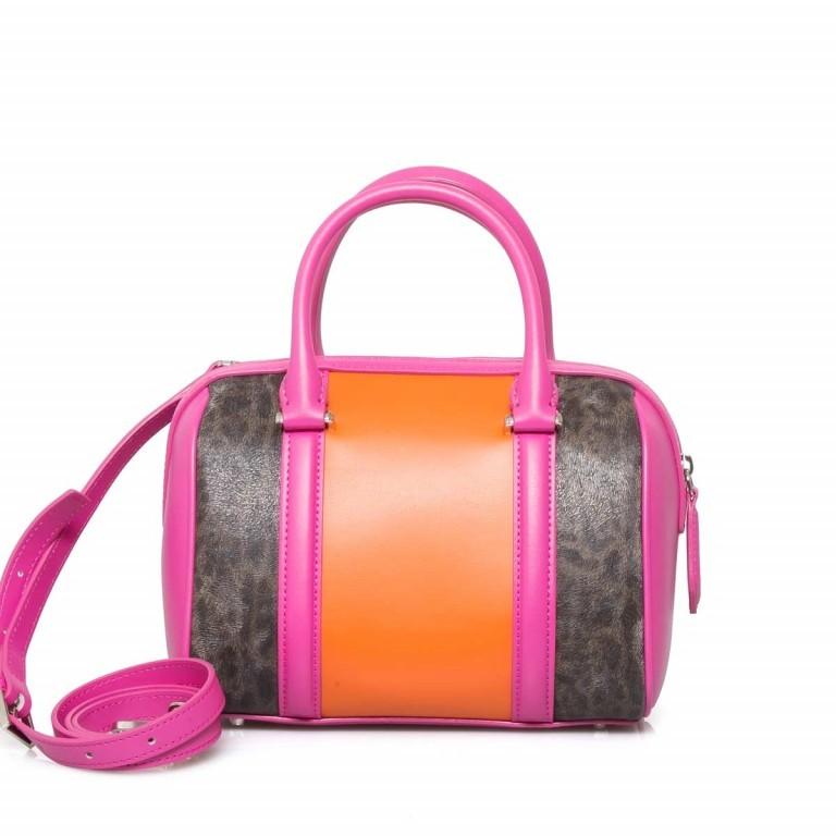 Cavalli Signature Bowlingbag S Leder Orange Fuchsia, Farbe: braun, rosa/pink, orange, Marke: Cavalli, Abmessungen in cm: 22.0x17.0x13.0, Bild 4 von 4