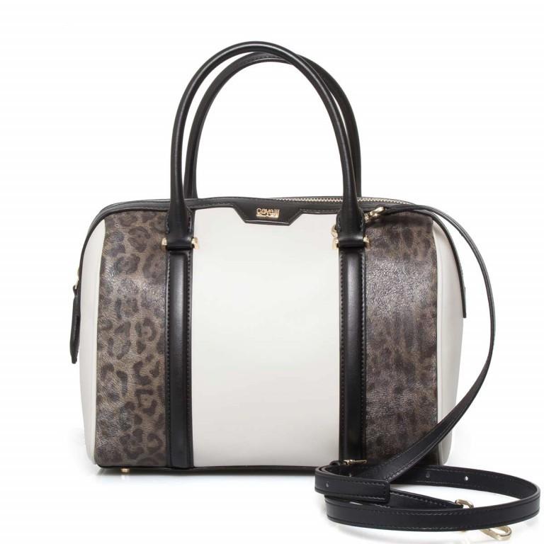 Cavalli Signature Bowlingbag M Leder Offwhite Black, Farbe: schwarz, braun, beige, Marke: Cavalli, Abmessungen in cm: 27.0x22.0x16.0, Bild 1 von 4