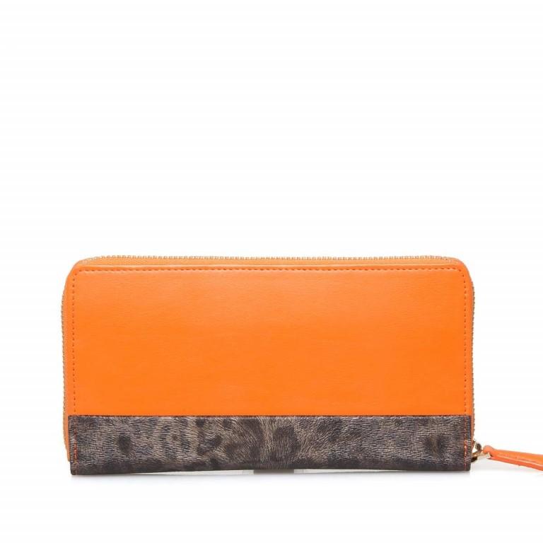 Cavalli Signature Reißverschlussbörse Leder Orange Offwhite, Farbe: braun, orange, beige, Marke: Cavalli, Abmessungen in cm: 19.0x10.5x3.0, Bild 3 von 3