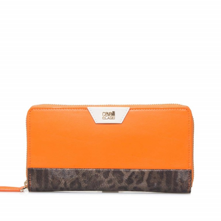 Cavalli Signature Reißverschlussbörse Leder Orange Offwhite, Farbe: braun, orange, beige, Marke: Cavalli, Abmessungen in cm: 19.0x10.5x3.0, Bild 1 von 3
