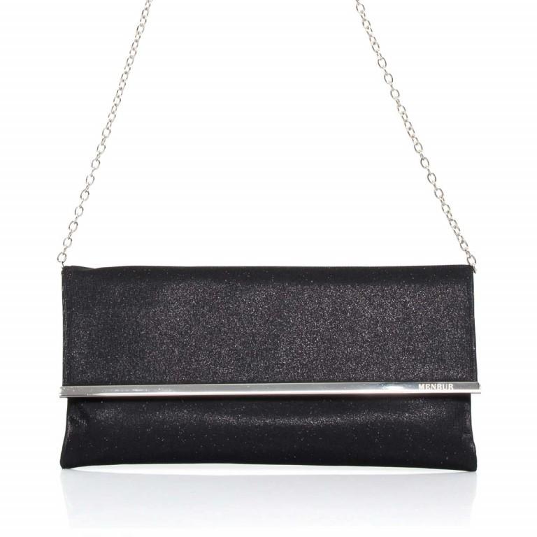 Menbur Clutch mit Überschlag Glitzer Schwarz, Farbe: schwarz, Marke: Menbur, Abmessungen in cm: 31.0x15.0x2.5, Bild 1 von 4