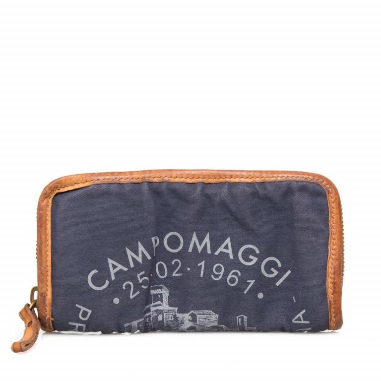 Campomaggi Börse CP0132-TEVL2-2513 Canvas Blau / Druck Grau, Farbe: blau/petrol, Marke: Campomaggi, Abmessungen in cm: 20.0x11.5x3.0, Bild 1 von 3