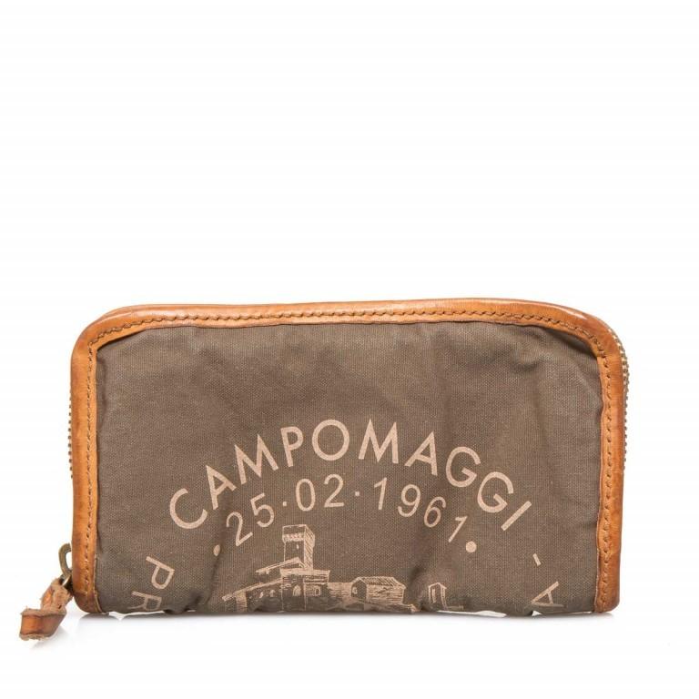 Campomaggi Börse CP0132-TEVL2-3200 Canvas Oliv / Druck Beige, Farbe: taupe/khaki, Marke: Campomaggi, Abmessungen in cm: 20.0x11.5x3.0, Bild 1 von 3