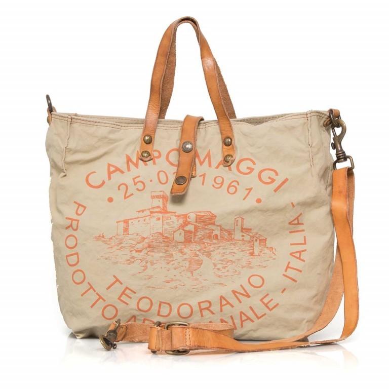 Campomaggi Canvas 33cm C1389-TEVL-3433 Beige / Druck Orange, Farbe: orange, beige, Marke: Campomaggi, Abmessungen in cm: 30.0x33.0x14.0, Bild 1 von 4