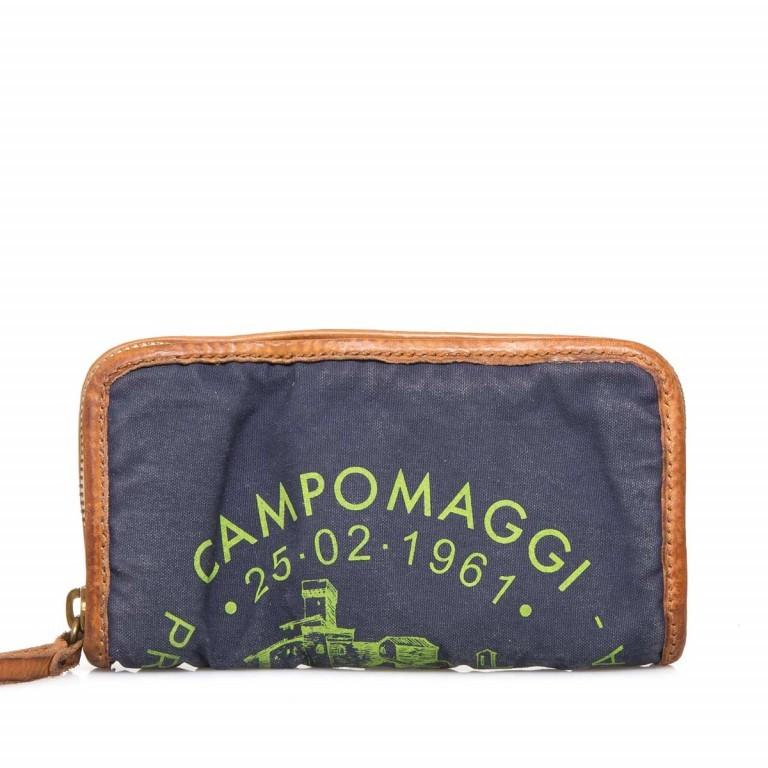 Campomaggi Börse CP0132-TEVL2-343 Canvas Blau / Druck Grün, Farbe: blau/petrol, Manufacturer: Campomaggi, Dimensions (cm): 20.0x11.5x3.0, Image 1 of 3