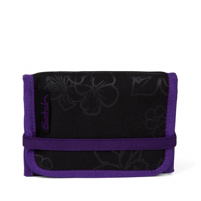 Satch Geldbeutel Purple Hibiscus, Farbe: schwarz, flieder/lila, Marke: Satch, EAN: 4057081025800, Abmessungen in cm: 13.0x8.5x2.0, Bild 1 von 4