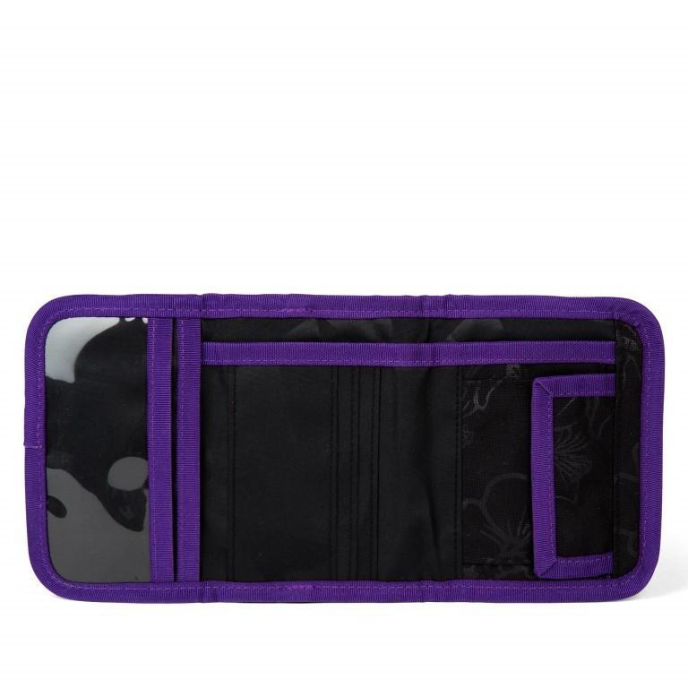 Satch Geldbeutel Purple Hibiscus, Farbe: schwarz, flieder/lila, Marke: Satch, EAN: 4057081025800, Abmessungen in cm: 13.0x8.5x2.0, Bild 2 von 4