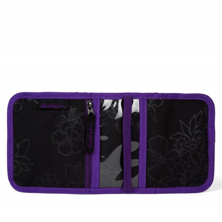 Satch Geldbeutel Purple Hibiscus, Farbe: schwarz, flieder/lila, Marke: Satch, EAN: 4057081025800, Abmessungen in cm: 13.0x8.5x2.0, Bild 3 von 4