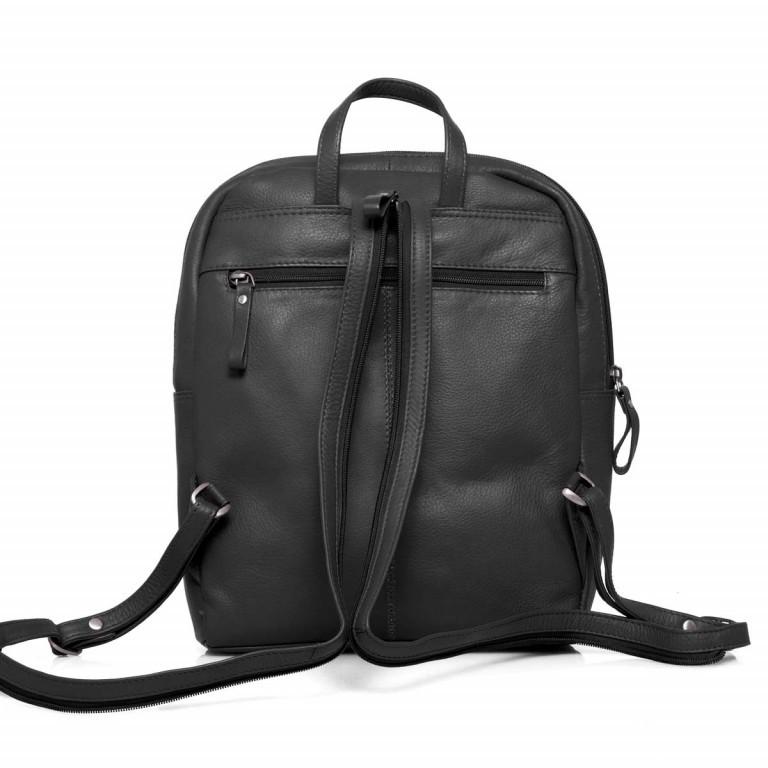 Portobello Rucksack Leder Schwarz, Farbe: schwarz, Marke: Portobello, Abmessungen in cm: 23.0x30.0x7.0, Bild 6 von 6