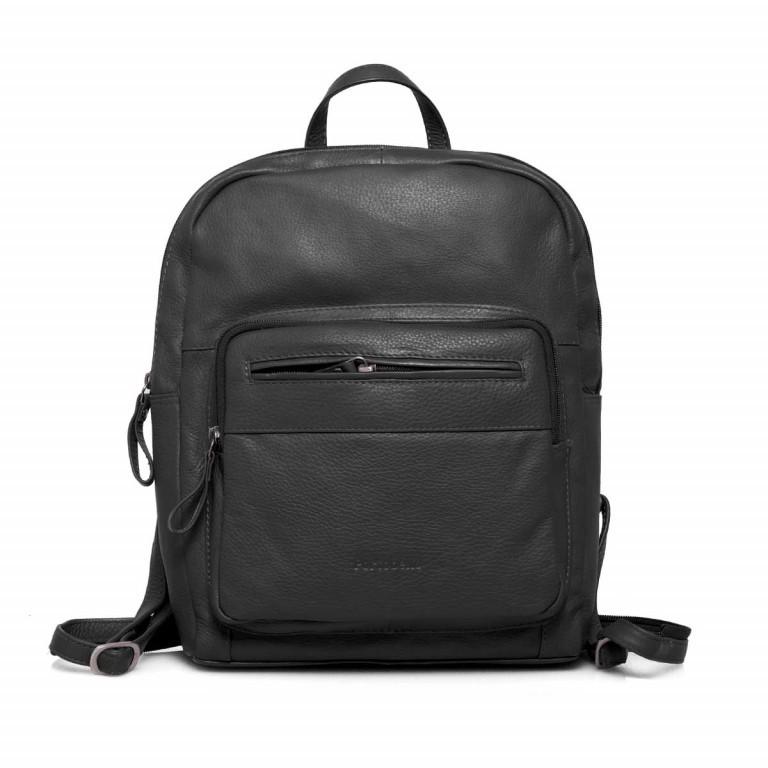 Portobello Rucksack Leder Schwarz, Farbe: schwarz, Marke: Portobello, Abmessungen in cm: 23.0x30.0x7.0, Bild 1 von 6