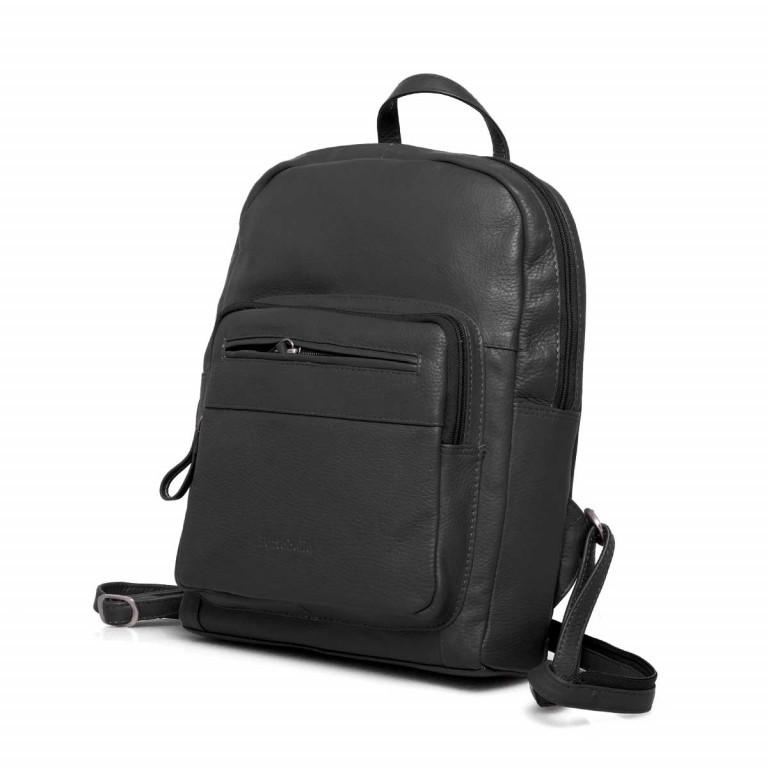 Portobello Rucksack Leder Schwarz, Farbe: schwarz, Marke: Portobello, Abmessungen in cm: 23.0x30.0x7.0, Bild 2 von 6