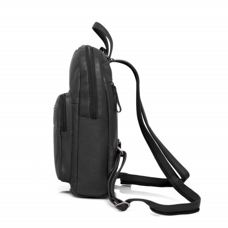 Portobello Rucksack Leder Schwarz, Farbe: schwarz, Marke: Portobello, Abmessungen in cm: 23.0x30.0x7.0, Bild 3 von 6