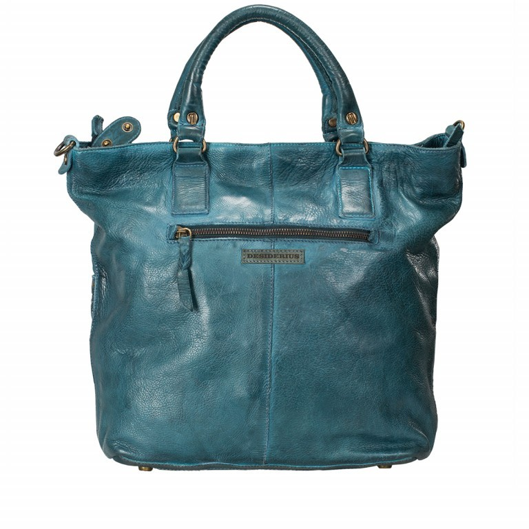 Desiderius Mons Adriana Shopper Leder Blue, Farbe: blau/petrol, Marke: Desiderius, Abmessungen in cm: 42.0x33.5x9.5, Bild 2 von 3