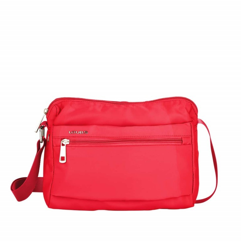 Loubs Schultertasche Nylon Rot, Farbe: rot/weinrot, Manufacturer: Loubs, Dimensions (cm): 25.0x18.0x9.0, Image 1 of 3