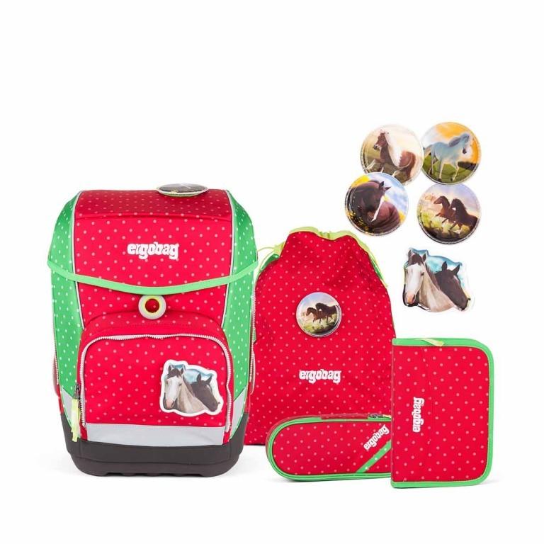 Ergobag Cubo Schulranzen-Set 5-teilig GaloppBär, Farbe: grün/oliv, rot/weinrot, Marke: Ergobag, EAN: 4260389766997, Abmessungen in cm: 25.0x40.0x20.0, Bild 1 von 5