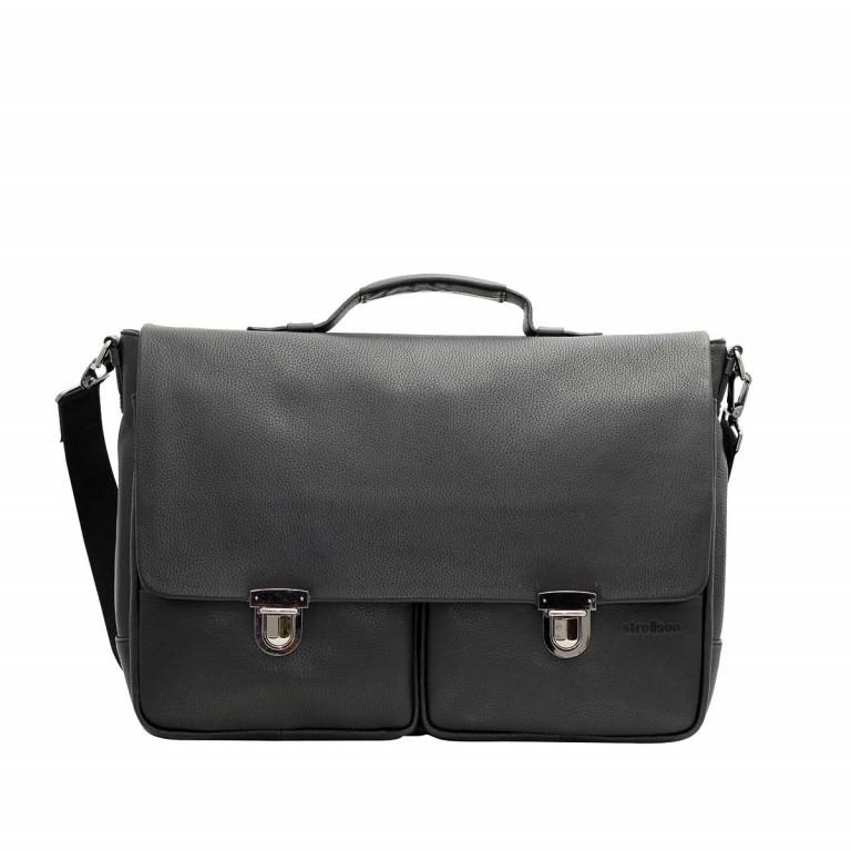 Strellson Garret Briefbag L Leder Schwarz, Farbe: schwarz, Marke: Strellson, EAN: 4053533195480, Abmessungen in cm: 44.0x32.0x16.0, Bild 1 von 1