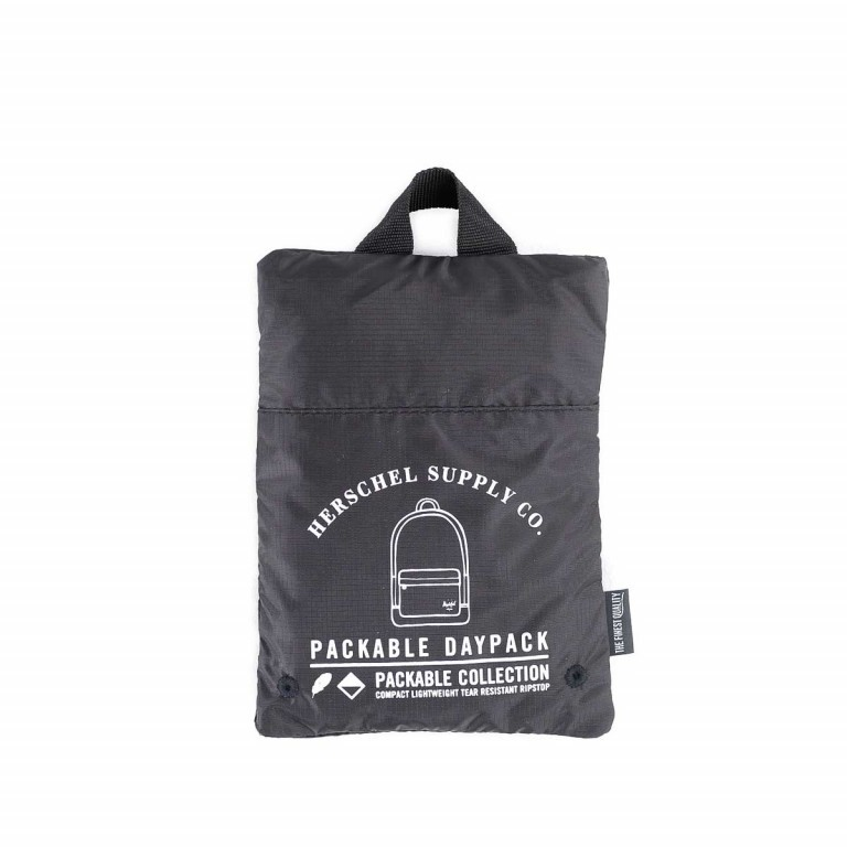 Herschel Rucksack Packable Daypack Black, Farbe: schwarz, Manufacturer: Herschel, EAN: 828432012107, Dimensions (cm): 32.0x45.0x14.0, Image 4 of 5