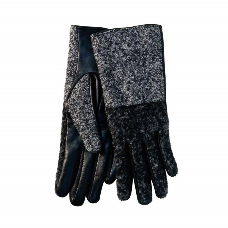 UNMADE Leather Glove with Loop Yarn Damenhandschuh 7,5 Schwarz, Farbe: schwarz, Marke: Unmade, Bild 1 von 1