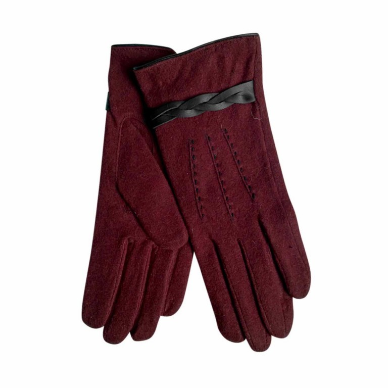 UNMADE Twisted Detail Glove Wollhandschuh 7,5 Weinrot, Farbe: rot/weinrot, Manufacturer: Unmade, Image 1 of 1