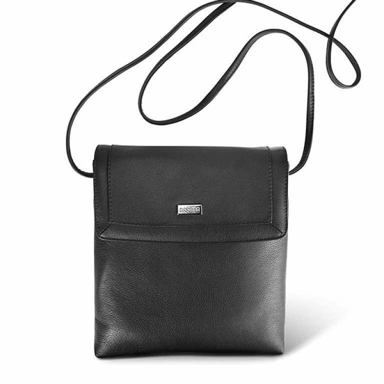 Assima Leder Crossbody Bag Kiel Schwarz, Farbe: schwarz, Marke: Assima, Abmessungen in cm: 22.0x23.0x4.0, Bild 1 von 1