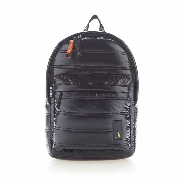 MUeSLii II RC1 Classic Shiny Rucksack Pitch Black, Farbe: schwarz, Marke: Mueslii, EAN: 8051093660031, Abmessungen in cm: 23.0x35.0x10.0, Bild 1 von 4