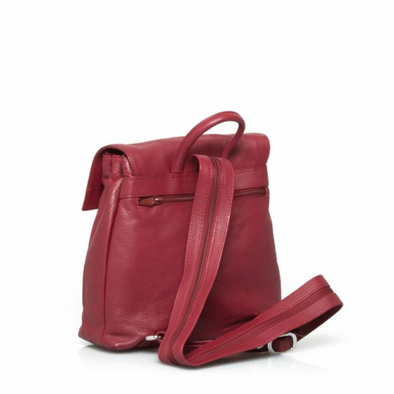 Portobello Damenrucksack Überschlag Leder Rot, Farbe: rot/weinrot, Marke: Portobello, Abmessungen in cm: 27.0x32.0x12.0, Bild 2 von 2